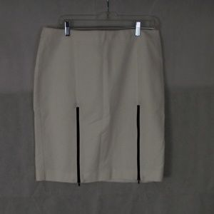 White Knee Length Pencil Skirt w/ contrast zippers